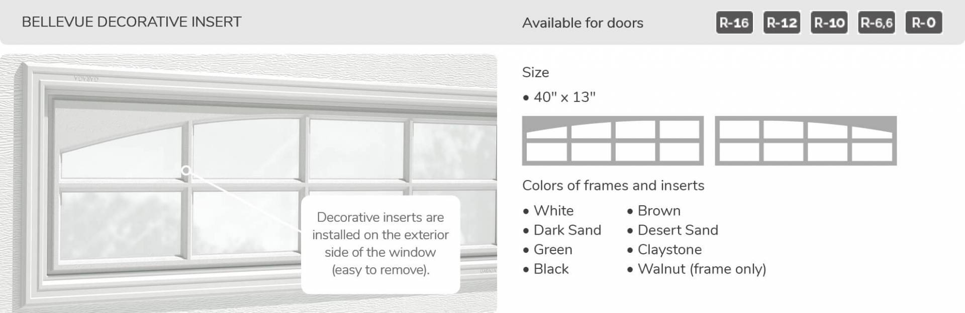 "Bellevue Decorative Insert, 40"" x 13"", available for doors R-16, R-12, R-10, R-6.6, R-0"
