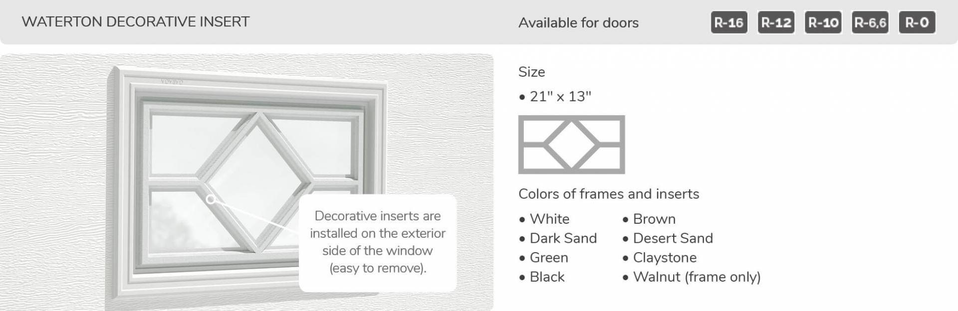 Waterton Decorative Inserts, 21' x 13', available for doors R-16, R-12, R-10, R-6,6 and R-0